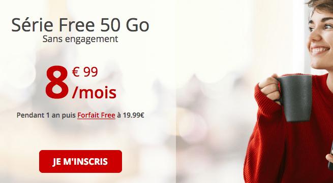 Free promotion forfait 4G avec 50 Go de data.