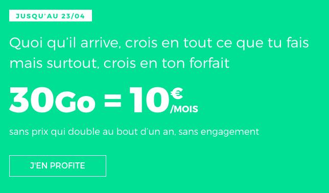 Promo forfait RED by SFR avec 30 Go de data.