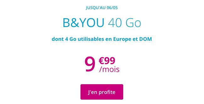 Forfait 4G de B&YOU en promotion.