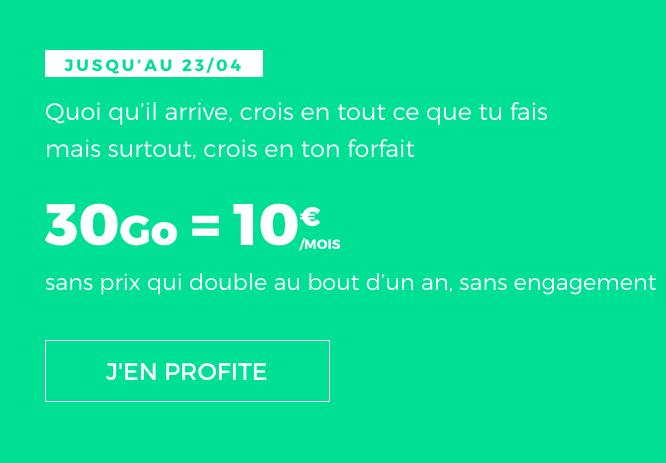 Forfait pas cher sans engagement disponible chez RED by SFR, à vie