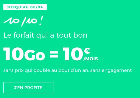 Forfait pas cher à 10€de RED by SFR