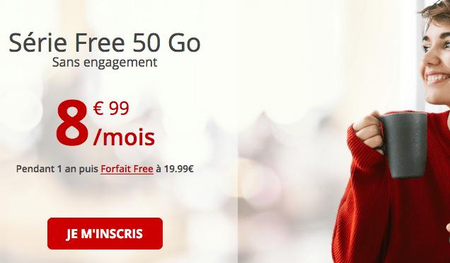 Série Free 50 Go forfait mobile 4G pas cher.