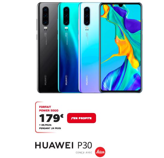 SFR et le forfait 50 Go pour un smartphone Huawei P30