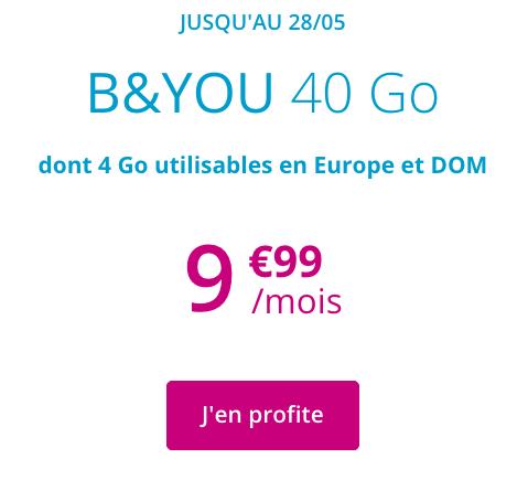 B&YOU et le forfait 4G sans engagement à moins de 10€