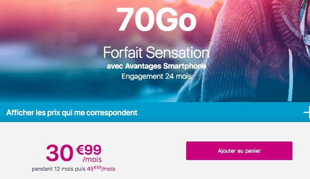 Forfait Sensation 70 Go promo.