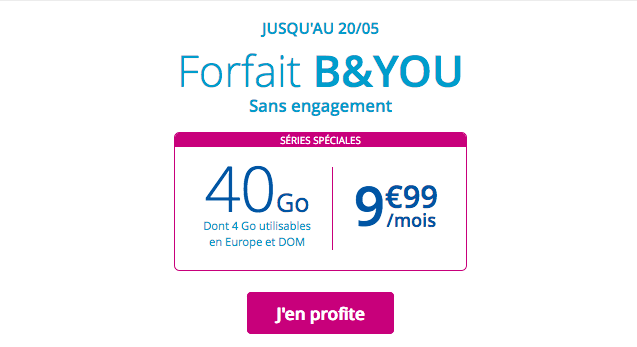 Forfait mobile B&YOU promo pas cher.