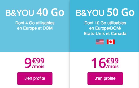Forfait mobile en promo avec 50 Go de data chez B&YOU.