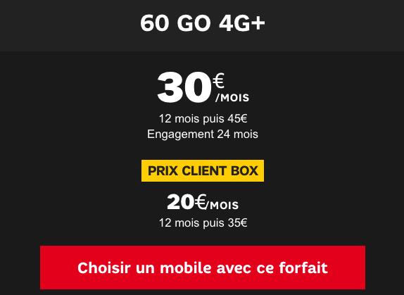 Forfait mobile 60 Go 4G+ en promo chez SFR.