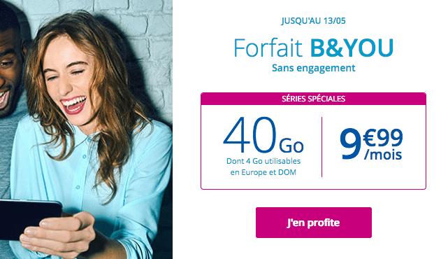 Forfait mobile B&YOU 40 Go en promo.