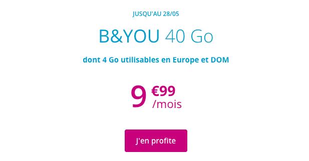 B&YOU 40 Go promotion forfait 4G pas cher.