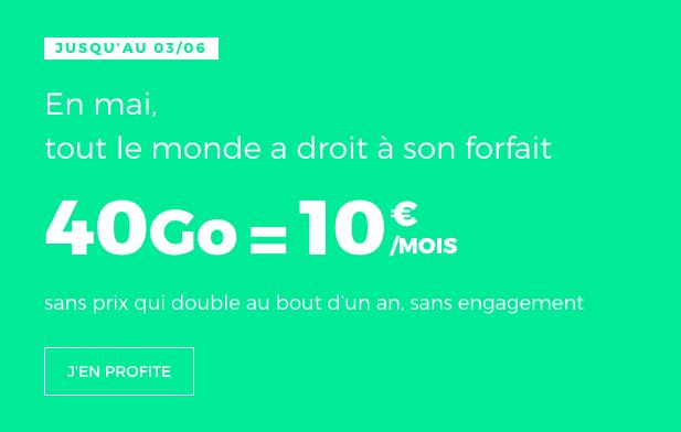 le forfait en promotion à 10€ de RED by SFR