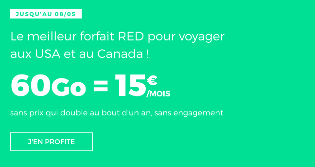 Promotion RED by SFR forfait 4G international pas cher.
