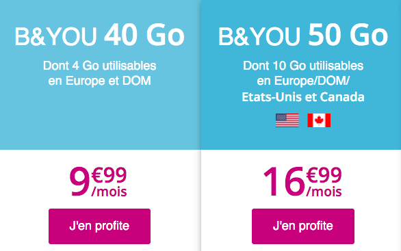 Forfait mobile international B&YOU en promo.