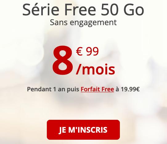 Free mobile fait sa promotion avec un forfait 4G de 50 Go