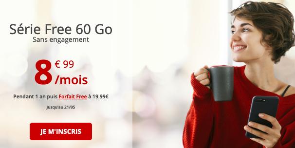 Free mobile et les 60 Go de data en illimité pour un forfait.