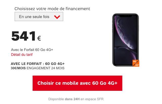 iPhone XR pas cher avec forfait mobile SFR.
