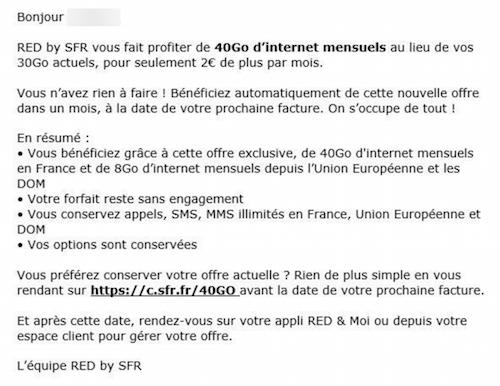 Offre reçu par les abonnés Red by SFR