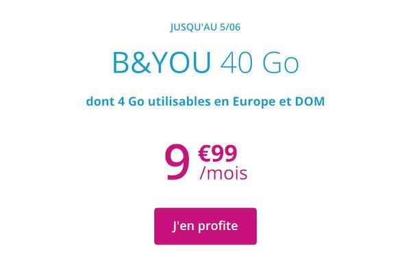 L'offre promotionnelle B&YOU pour son forfait mobile 40 Go