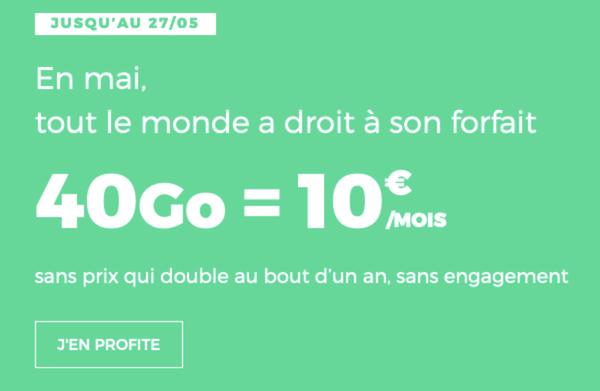 Forfait 40 Go de RED By SFR à moins de 10 euros par mois.