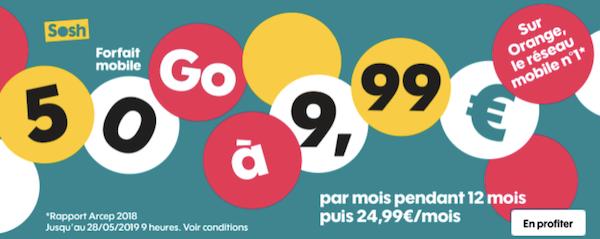 Forfait 50 Go de Sosh à moins de 10 euros par mois.