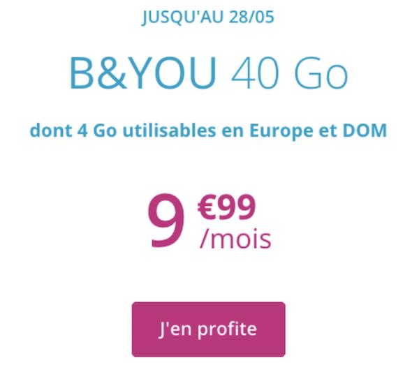 Forfait 40 Go de B&YOU à moins de 10 euros par mois.