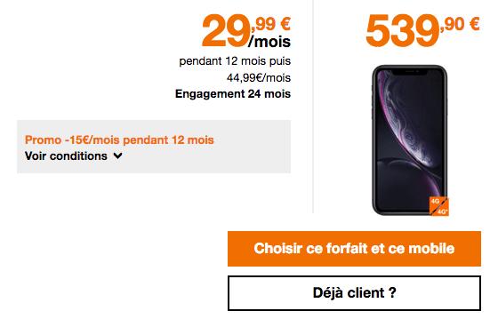 L'iPhone Xr est accessible à prix cassé chez Orange avec forfait mobile 4G.