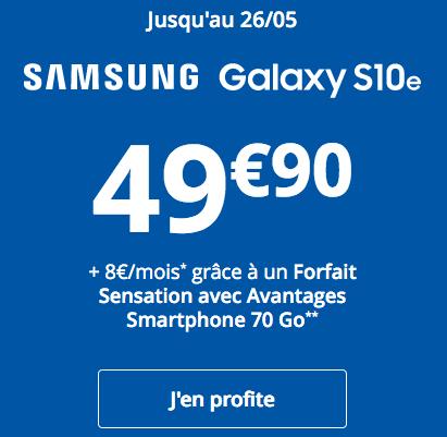 Galaxy S10e de Samsung pas cher chez Bouygues Telecom.