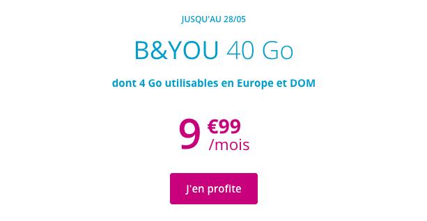 Forfait 4G pas cher chez b&YOU.