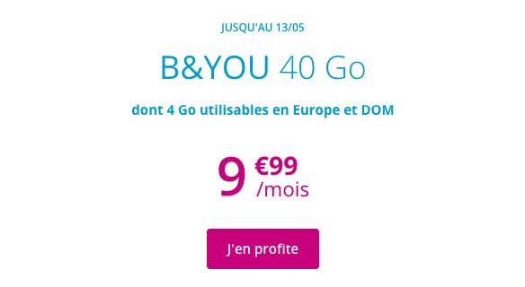 Promotion forfait B&YOU 40 Go chez Bouygues Telecom.