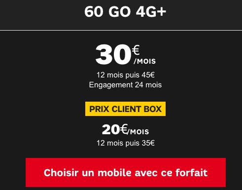 SFR forfait mobile 60 Go promotion.