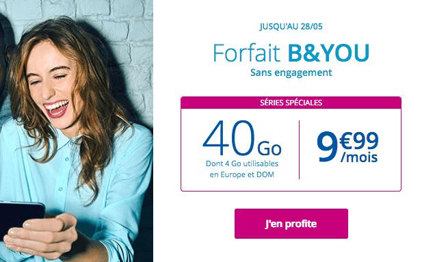 Forfait mobile B&YOU promotion avec 40 Go de 4G.