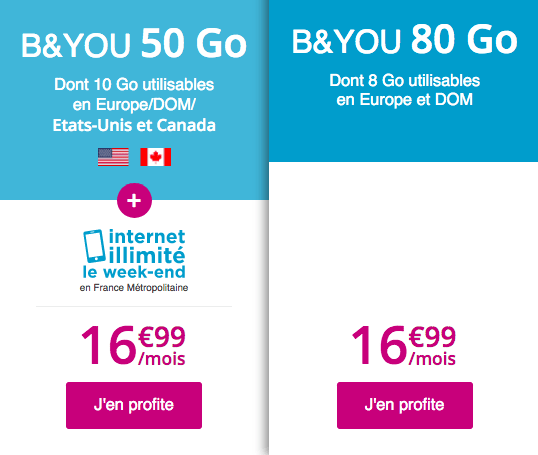 Forfait mobile B&YOU promotion.