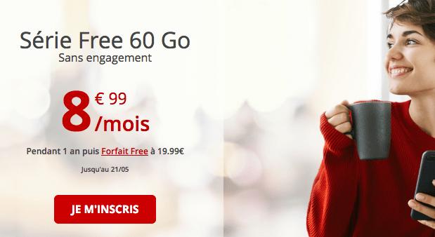 Promotion chez Free mobile pour un forfait 4G pas cher.