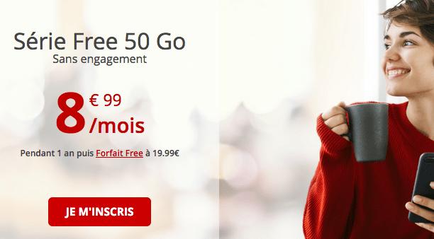 Forfait mobile Free 50 Go promo.