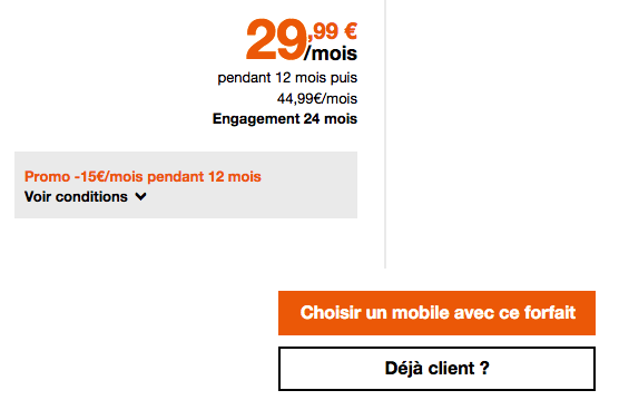 Orange promotion forfait mobile 4G.