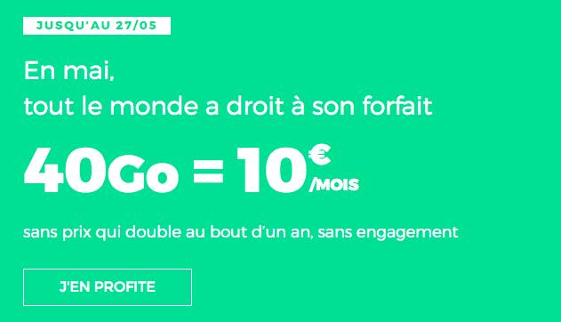 Promotion forfait RED by SFR avec 40 Go de données internet.