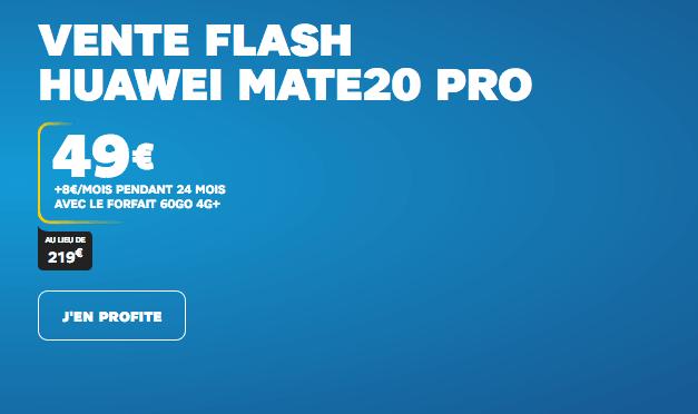 Vente Flash Huawei Mate 20 Pro chez SFR avec forfait 4G.
