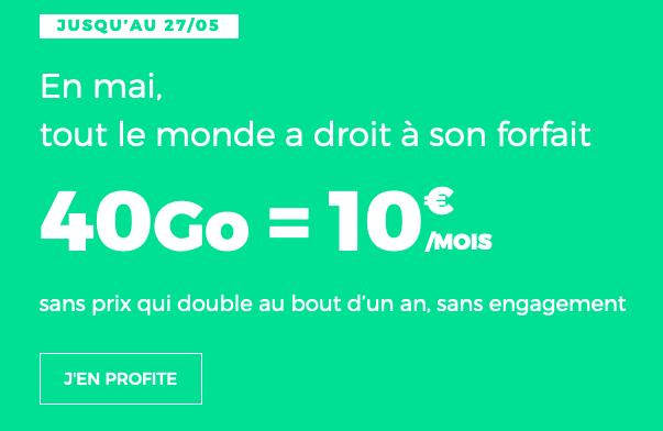 Forfait 4G sans engagement en promotion chez RED by SFR