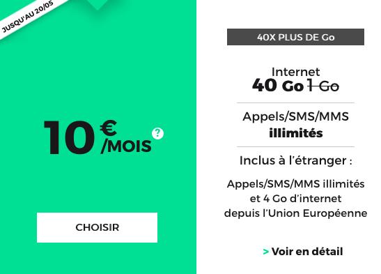 RED by SFR propose un forfait mobile à 10€avec 40 Go de 4G