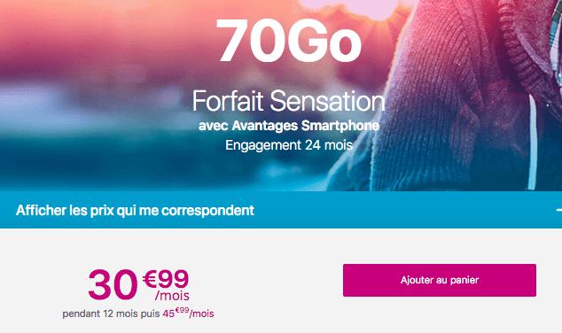 Forfait mobile Sensation 70 Go promotion Bouygues Telecom.