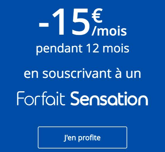 15€ de remise sur les forfaits Sensation