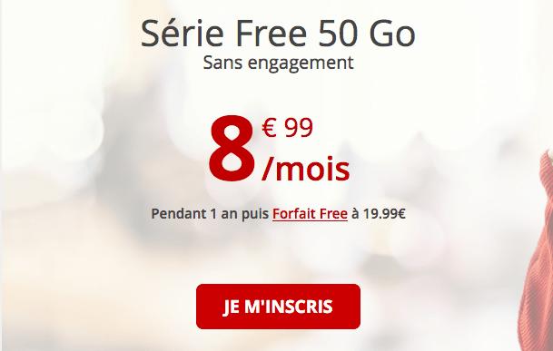 Promotion forfait sans engagement Free mobile.