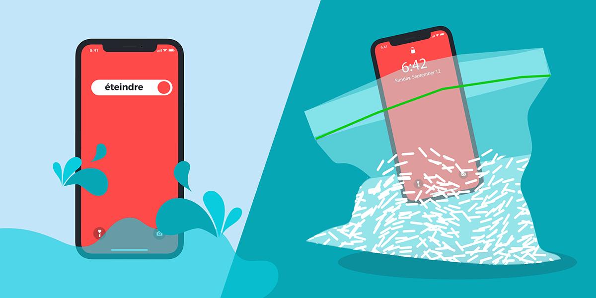 Téléphone dans le riz