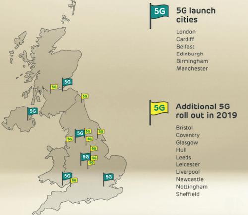 Carte de la disponibilité du réseau 5G en Grande-Bretagne