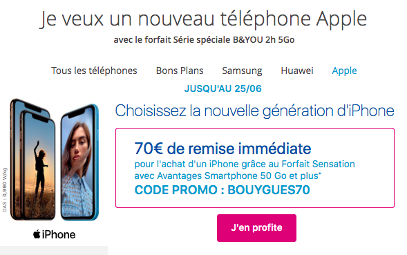 le codes promos BOUYGUES70