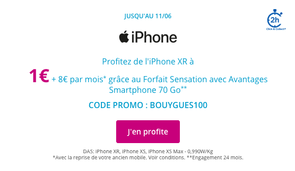 iPhone pas cher code promo Bouygues Telecom.
