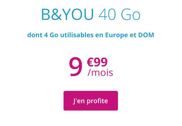 forfait b&you 40 go pour 9,99 euros par mois