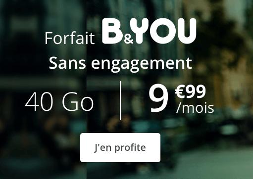 Forfait B&YOU 40 Go promotion.