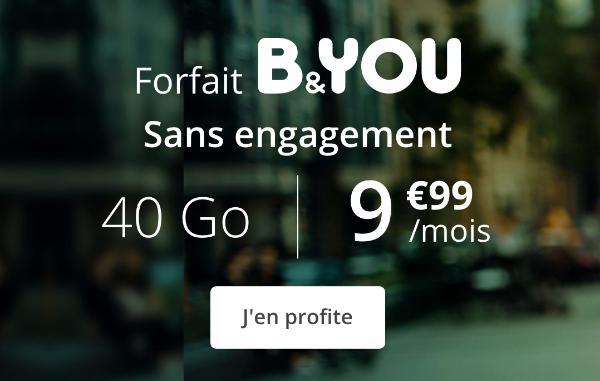 B&YOU forfait mobile en promotion riche en données internet.