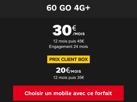Forfait mobile 60 Go 4G+ promotion SFR.